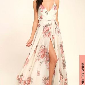 Lulu's Cream Flowered Maxi Wrap Dress